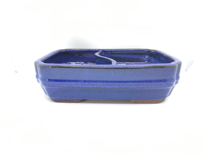 "8"" Glazed Bonsai Land/ Water Bonsai Pot Ocean Blue"