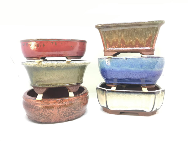 "10"" Glazed Ceramic Bonsai Pot (Mixed Glazes)"