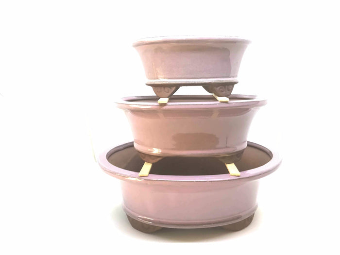 "6"", 8"", 10"" Glazed Ceramic Bonsai Pot (Pink Lemonade)"