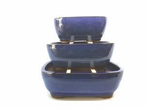 "6"", 8"", 10"" Glazed Ceramic Bonsai Pot (Royal Blue)"