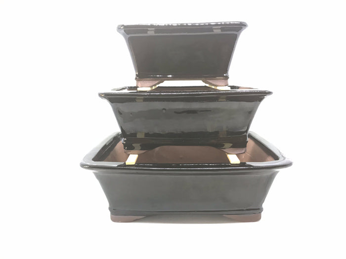 "6"", 8"", 10"" Glazed Ceramic Bonsai Pot (Midnight Black)"