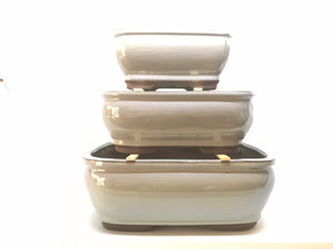 "6"", 8"", 10"" Glazed Ceramic Bonsai Pot (Pewter)"