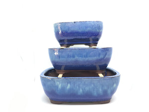 "6"", 8"", 10"" Glazed Ceramic Bonsai Pot (Waterfall Blue)"