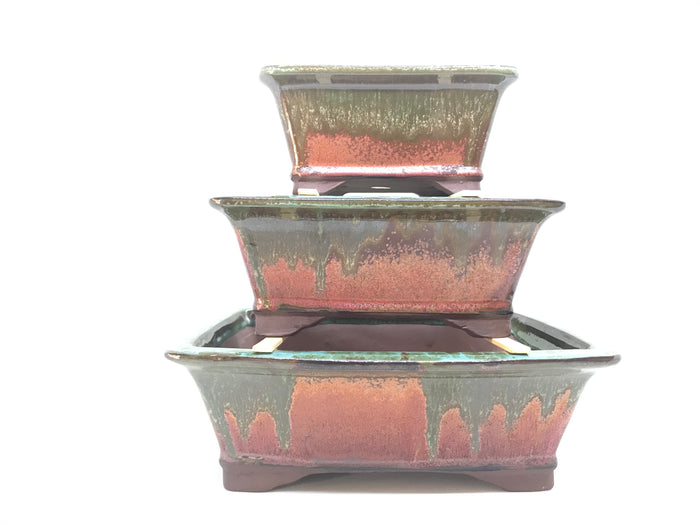 "6"", 8"", 10"" Glazed Ceramic Bonsai Pot (Molten Lava)"