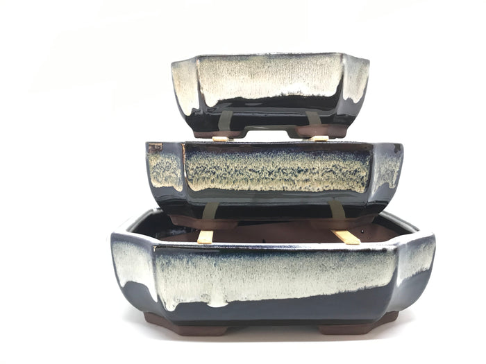 "6"", 8"", 10"" Glazed Ceramic Bonsai Pot (Creamy Mocha)"