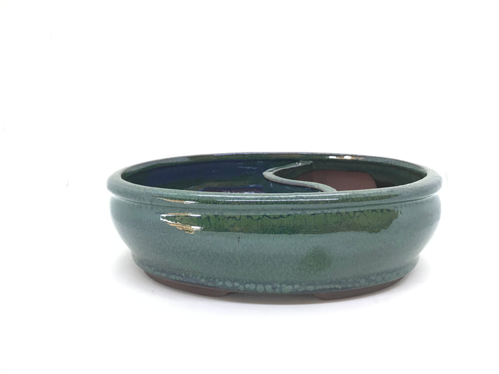 "8"" Glazed Bonsai Land/ Water Bonsai Pot (Emerald Green)"