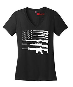 Ladies Gun American Flag Shirt Patriotic T-shirt