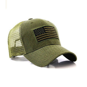 US Flag Patch Tactical Style Mesh Trucker Baseball Cap Hat