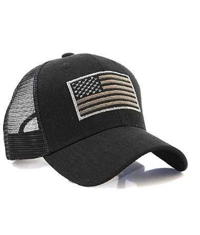 Black US Flag Patch Tactical Mesh Trucker Ha