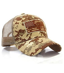Dessert Camo US Flag Patch Tactical Mesh Trucker Hat
