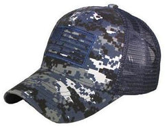 Navy Camo US Flag Patch Tactical Mesh Trucker Hat