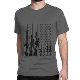 Men's Big American Flag With Machine Guns T-Shirt