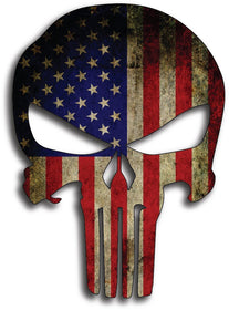 "5"" x 7"" PUNISHER SKULL American Flag Decals"