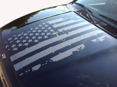 Distressed American Flag Truck Hood Vinyl Decal