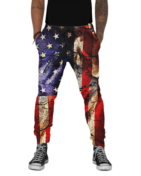 Cracked Earth American Flag Joggers