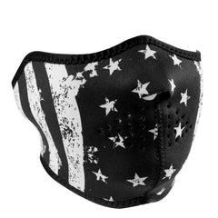 Merica Black and White Distressed Flag Half Mask