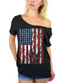 American Flag Distressed Off Shoulder T-shirt
