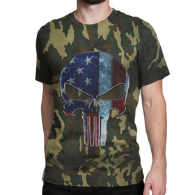Camouflage American Punisher Skull T-Shirt