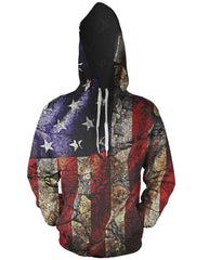 Cracked Earth American Flag Hoodie