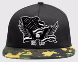 Camo Brim Black American Flag and Eagle Baseball Cap