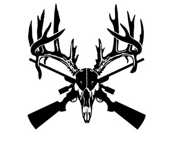 Deer Skull Rifle Hunter Decal