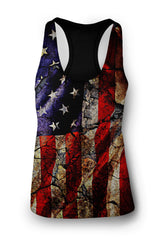 Women's Distressed American Flag Racerback Tank