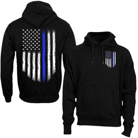 Blue Stripe USA Police Support Hoodie