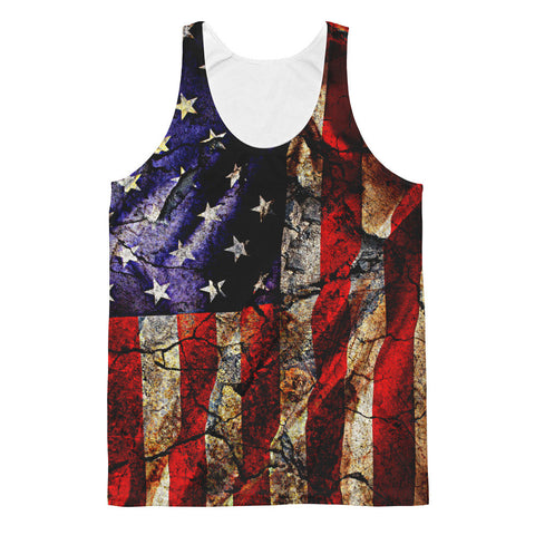 CRACKED EARTH AMERICAN FLAG TANK