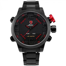 Black and Red Steel Strap Shark Watch