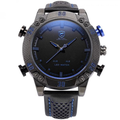 Black and Blue LED Back Light Shark Watch