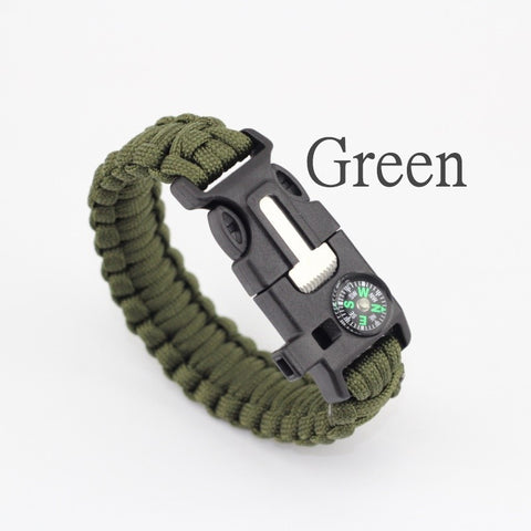 Paracord Survival Bracelet Emergency Rescue Rope Flint Fire Starter Whistle Compass
