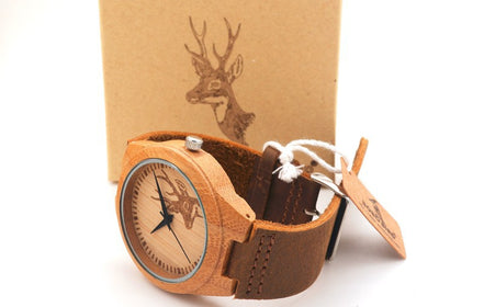 Engraved Elk Head Natural Wooden Watch With Genuine Cowhide Leather