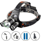 Luger Super Headlamp - 12000 Lumen, XM-L T6, 2x18650 Battery + Car & Wall Chargers