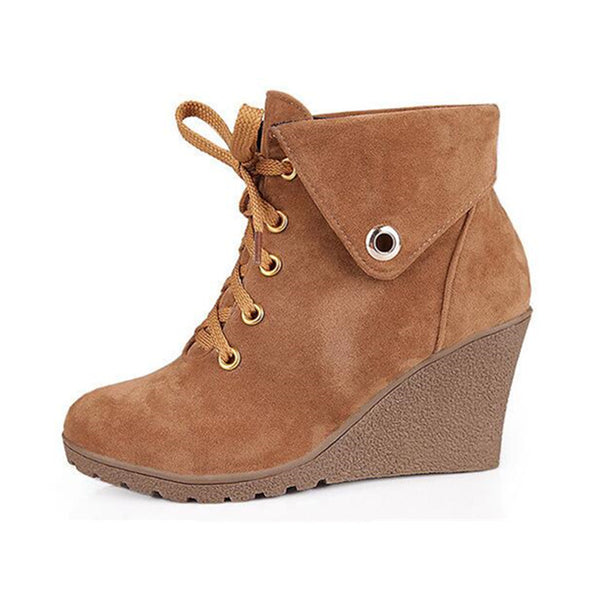 Suede Wedge Booties