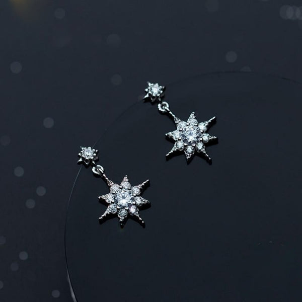 Silver Star Sparkling Earrings