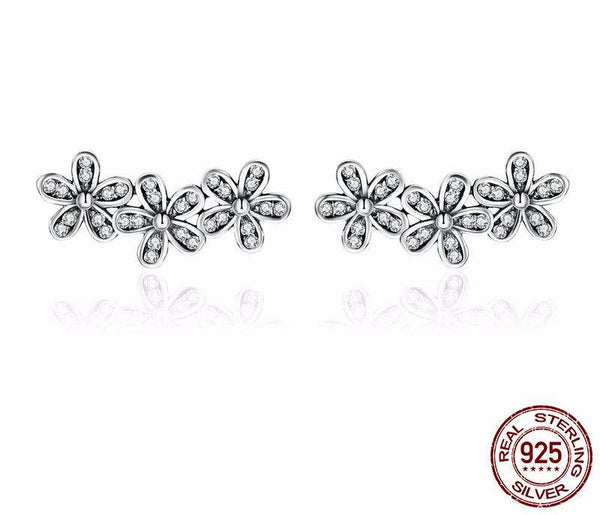 Sterling Silver Stackable Dazzling Daisies Earrings