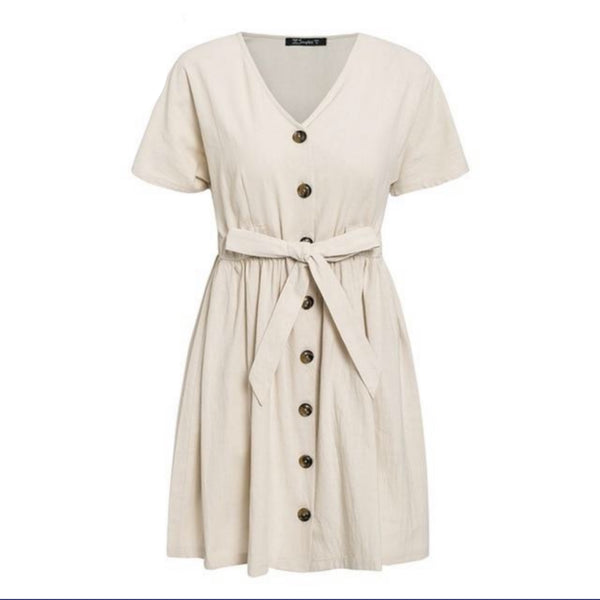 Patricia V neck short sleeve linen summer dresses