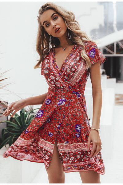 Rosey Bohemian floral mini summer dress /Red
