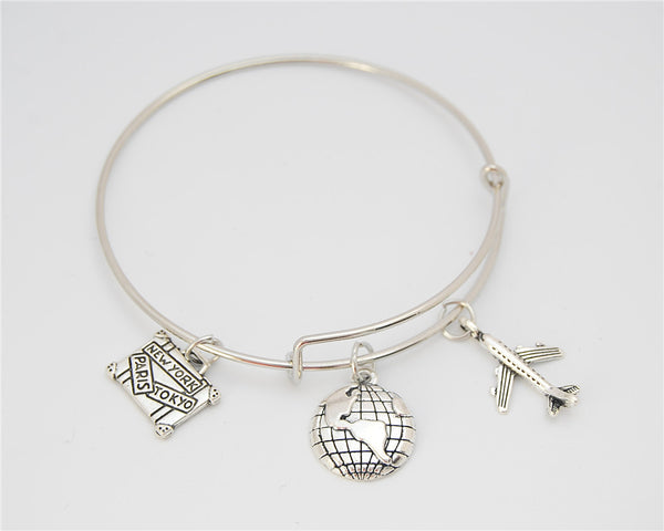 Silver Travel The World Charms Bracelet