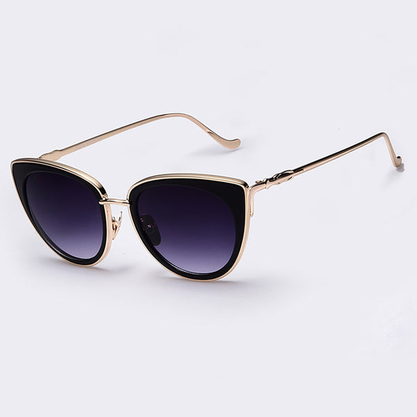Winged Metal Frame Sunglasses
