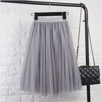 Klia Pleated Tulle Skirt / Gray