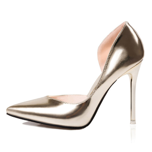 Saylah Pointed Toe Thin Heel / Gold