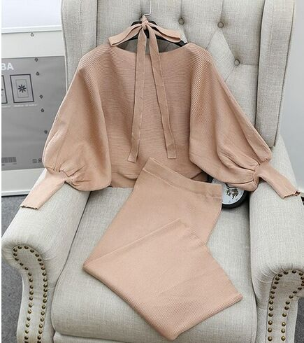 Night Out Batwing Sleeve Sweater Skirt 2PC Sets