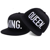KING QUEEN embroidered snapback hats