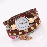 Leaf Charm Fabric Gold Watch Bracelet