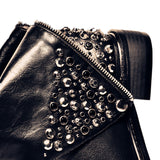 Paige Leather Studded Ankle Boots