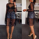 Nia Black Sheer Dress