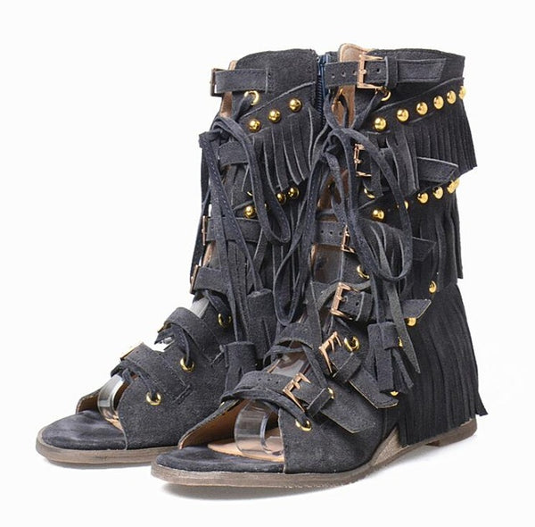Mid Calf Gladiator Studded Fringe Sandals