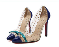 Rivets & Bow Transparent High Heels / Blue