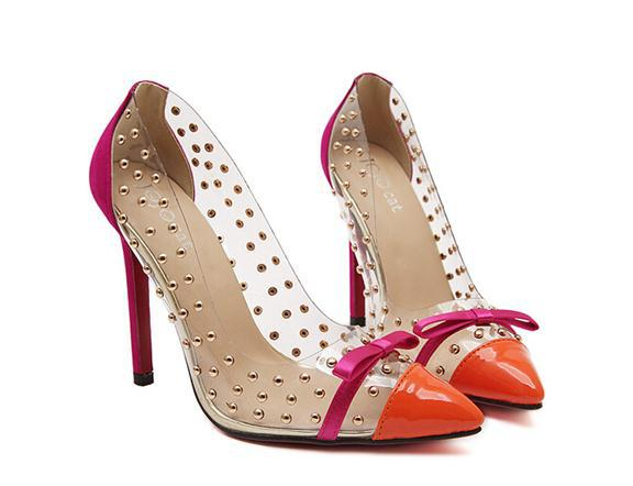 Rivets & Bow Transparent High Heels / Orange